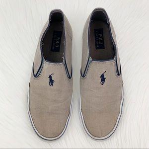 Polo Ralph Lauren Canvas Slip On Shoes Sz 9 Khaki